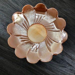 4pc Peach lustre Marigold Carnival Glass plates
